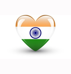 Heart-shaped icon with national flag of India vector image vector image
