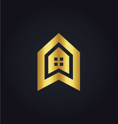 house icon building gold logo vector image vector image