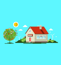 House with tree flat design nature natural scene vector