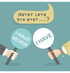 Never have I ever hand holding paddle icons vector image vector image