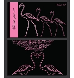 pink flamingo on chalk board vector image vector image