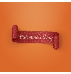 Red scroll valentines day ribbon with text vector