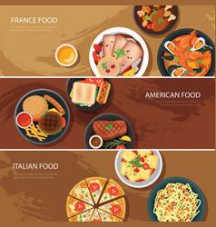 Set of food web banner flat design vector image vector image