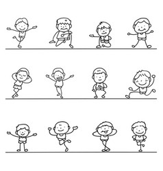 set of hand drawing abstract happy cute boys line vector image vector image