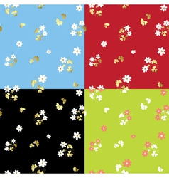 set of summer floral patterns vector image