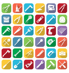 Set of thirty six flat style tools icons vector