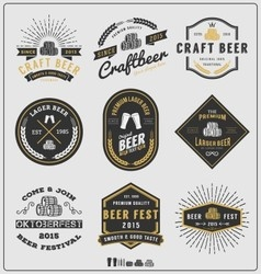 Set of vintage beer badge logo and labels template vector