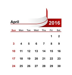 simple calendar 2016 year april month vector image