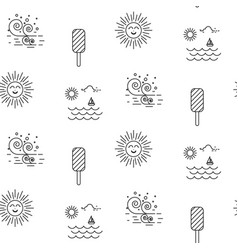 Summer beach line icon seamless pattern vector