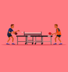 two man characters playing tennis vector image vector image
