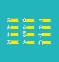 with yellow flag set of icons on a blue background vector image vector image