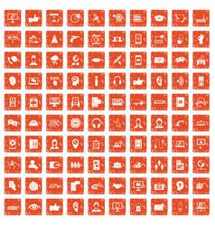 100 call center icons set grunge orange vector