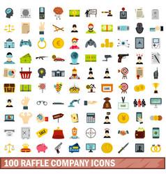 100 raffle company icons set flat style vector