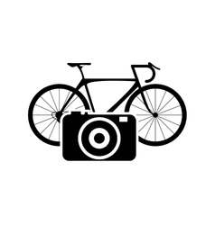 Bike or bicycle and camera icon vector