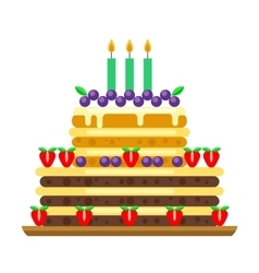 Cream birthday cake pie vector
