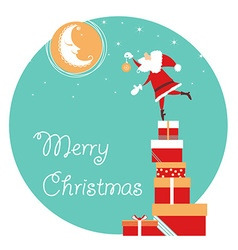 Christmas card with santa and moon holiday card vector