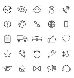 Customer service line icons on white background vector
