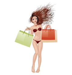 Bikini girl going shopping vector