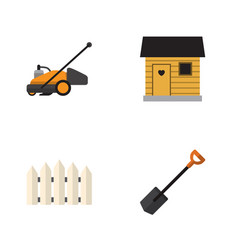 Flat icon dacha set of wooden barrier stabling vector