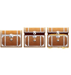 Vintage wooden chest with golden coin vector