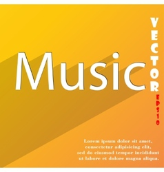 Music icon symbol flat modern web design with long vector