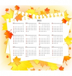autumn 2011 calendar template vector image