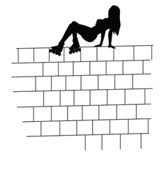 Girl on the brick wall vector