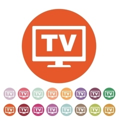 The tv icon television and telly telecasting vector