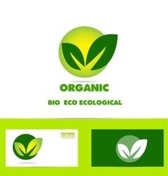 Bio organic leaf green logo vector