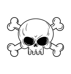 Skull with bones pirates sign head skeleto vector
