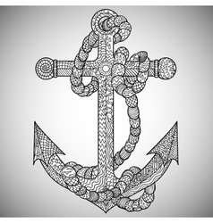 Anchor and rope in the zentangle style vector
