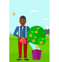 Man watering tree with light bulbs vector