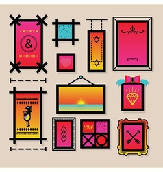 Colorful decoration symbols and frames icons set vector