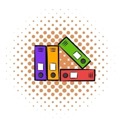 Bright office folders icon comics style vector