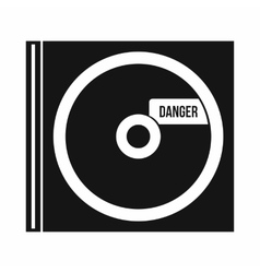 Cd with danger lettering icon simple style vector