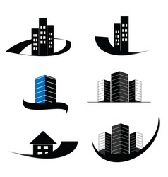 Construction real estate and building logo set vector