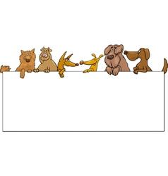 Dogs with frame cartoon design vector