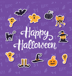 happy halloween banner with halloween icons vector image