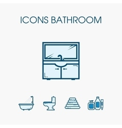 Icons bathroom set vector image vector image
