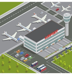 Isometric airport building with airplanes vector
