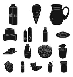 Milk product black icons in set collection for vector