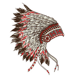 Native american indian chief headdress vector
