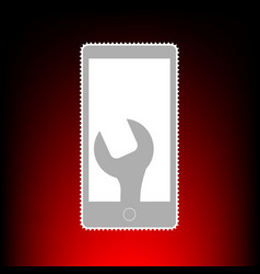 phone icon with settings postage stamp or old vector image