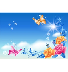 Roses and butterfly vector image