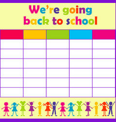 School timetable with stylized kids vector