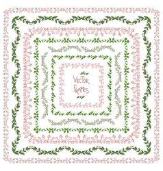 Set of decorative floral square frames vector image