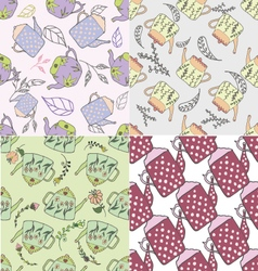 Set of hand drawn seamless patterns with cute teap vector