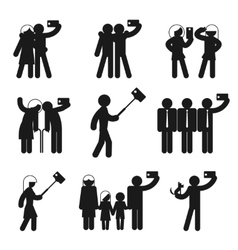 Set of selfie icons vector image vector image