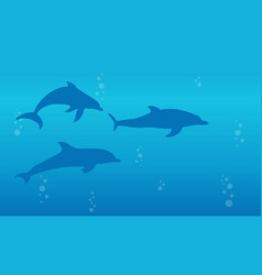 Silhouette of dolphin landscape background vector