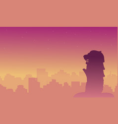 silhouette of singapore city beauty landscape vector image